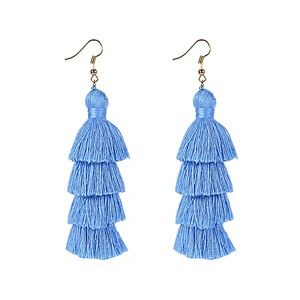 🆕Powder Blue 4 Layer Fiesta Tassel Earrings